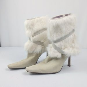 Nine West Suede and Fur Heeled Boots Cream Rare